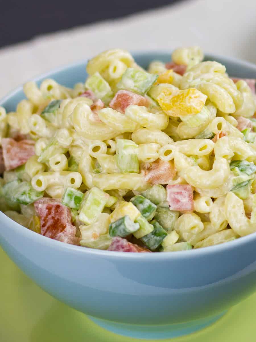 A very close image of pasta salad.