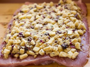 Roast Pork Loin with Apple Cranberry Walnut Stuffing c