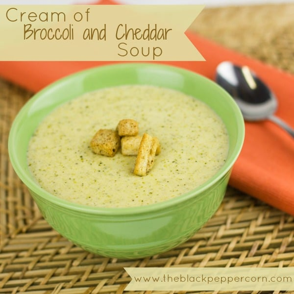 Cream of Broccoli and Cheddar Soup pinterest