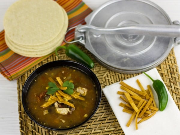 Make tortilla soup with this easy recipe and get wonderful Mexican flavors. Chicken, corn, black beans, tomatoes, jalapeno peppers, corn tortillas or gorditas.