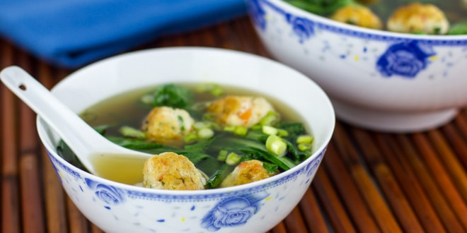 Chicken and Shrimp Meatballs in an Aromatic Broth Recipe