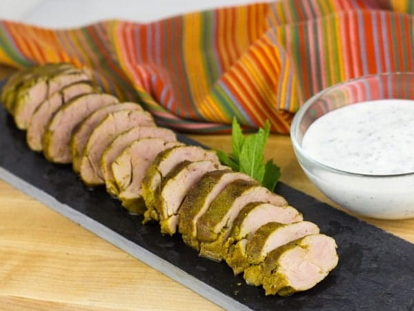 Curried Pork Tenderloin with Smoked Yogurt and Mint Sauce-4