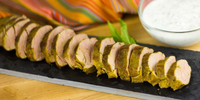 Curried Pork Tenderloin with Mint Yogurt Sauce