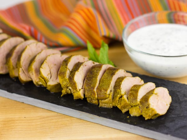 Curried Pork Tenderloin with Smoked Yogurt and Mint Sauce