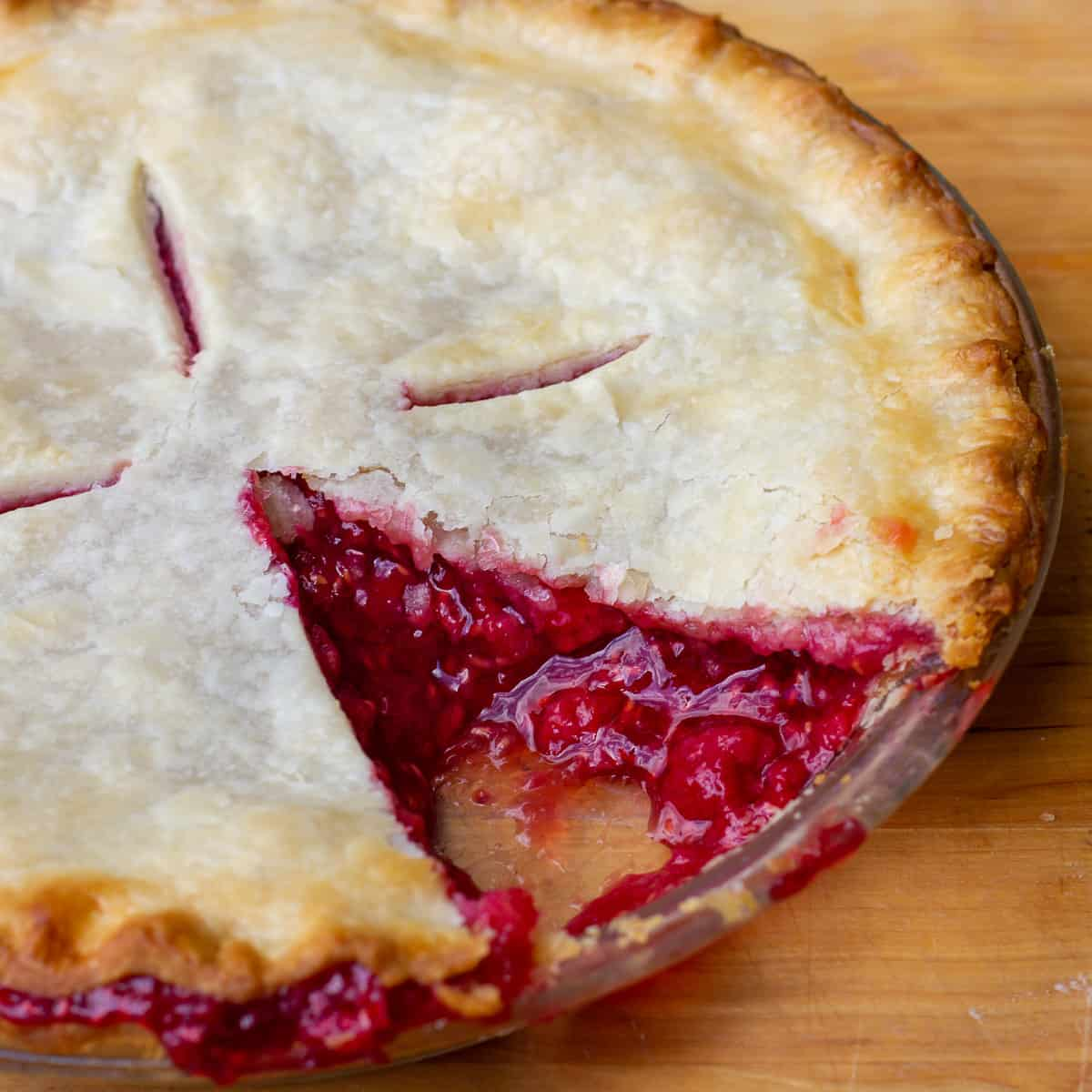 A close up picture of a pie.