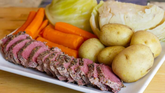 Corned beef and cabbage on a plate