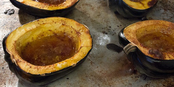 Roasted Acorn Squash Recipe - cinnamon, butter, brown sugar