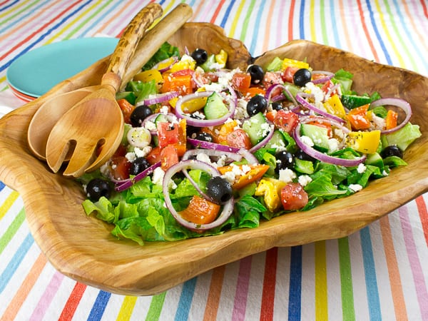 Greek Salad with Dressing and Ingredients Recipe-8