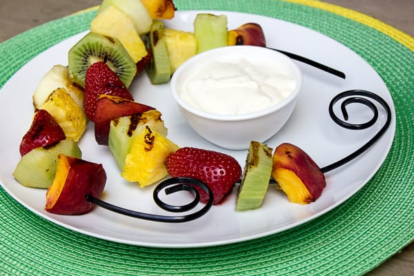 Grilled Fruit Skewers with Creamy French Vanilla Dip