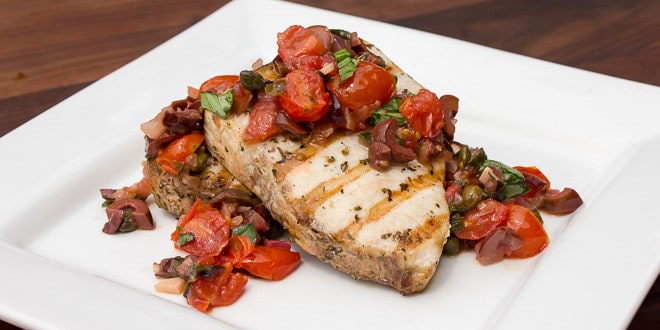 Grilled Sicilian Swordfish with Smoker Box