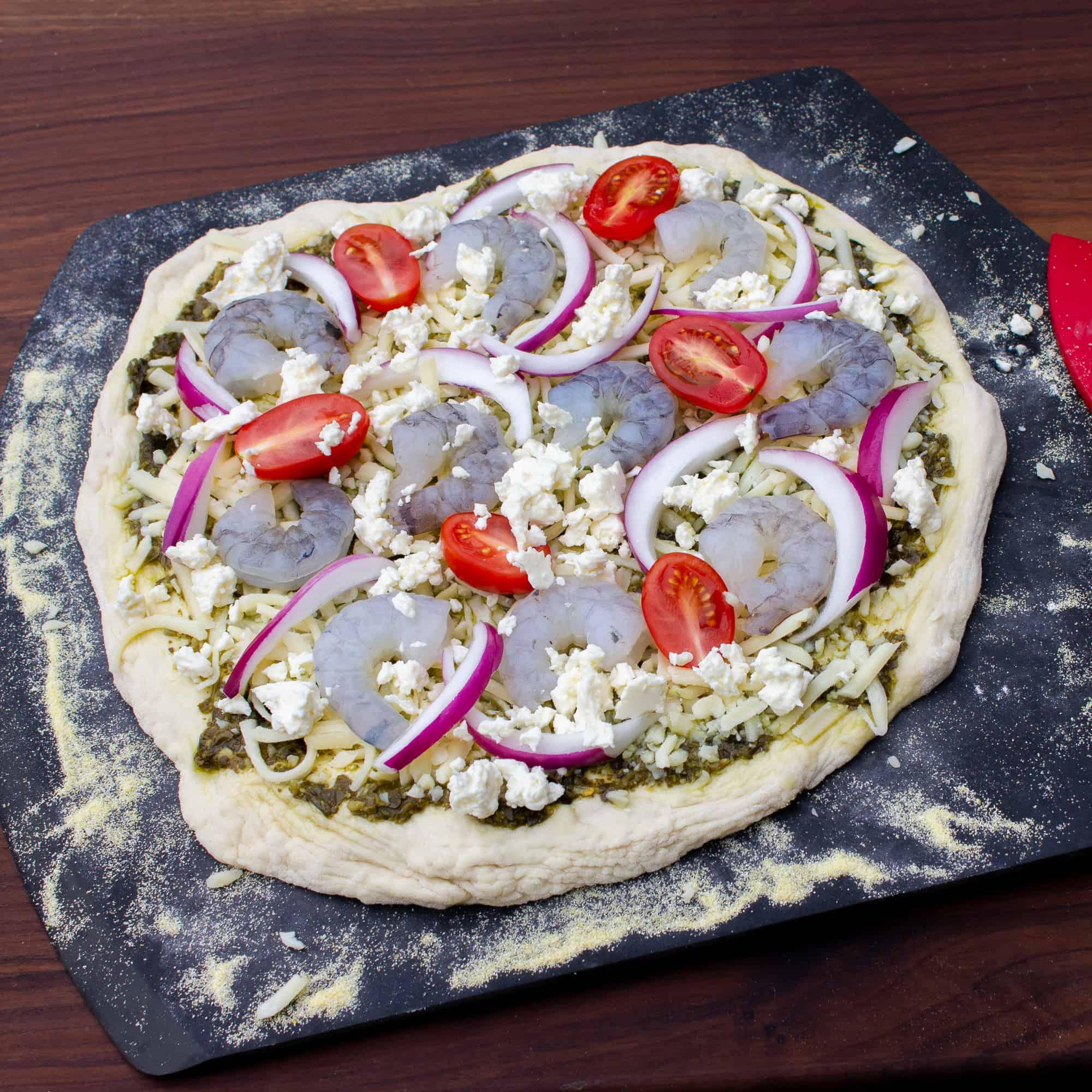 Ingredients for a mediterranean pizza