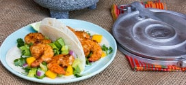 Grilled Chipotle Shrimp Tacos with Mango and Cilantro Salad