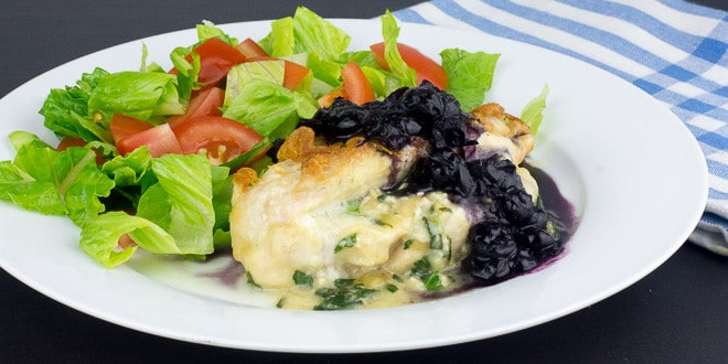 Maple Blueberry Chicken Stuffed with Canadian Brie and Basil Creme
