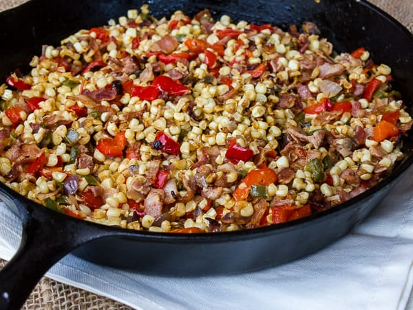 Skillet White Corn with Bacon-3