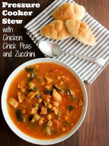 Pressure Cooker Chicken Chick Pea and Zucchini Stew-pin