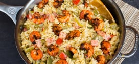Creamy Pasta New Orleans with Grilled Cajun Shrimp-3