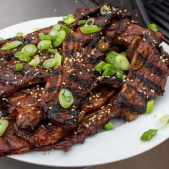 Kalbi, thin sliced short ribs in a Korean marinade. Once grilled, these ribs are packed with so much flavor and they basically melt in your mouth.