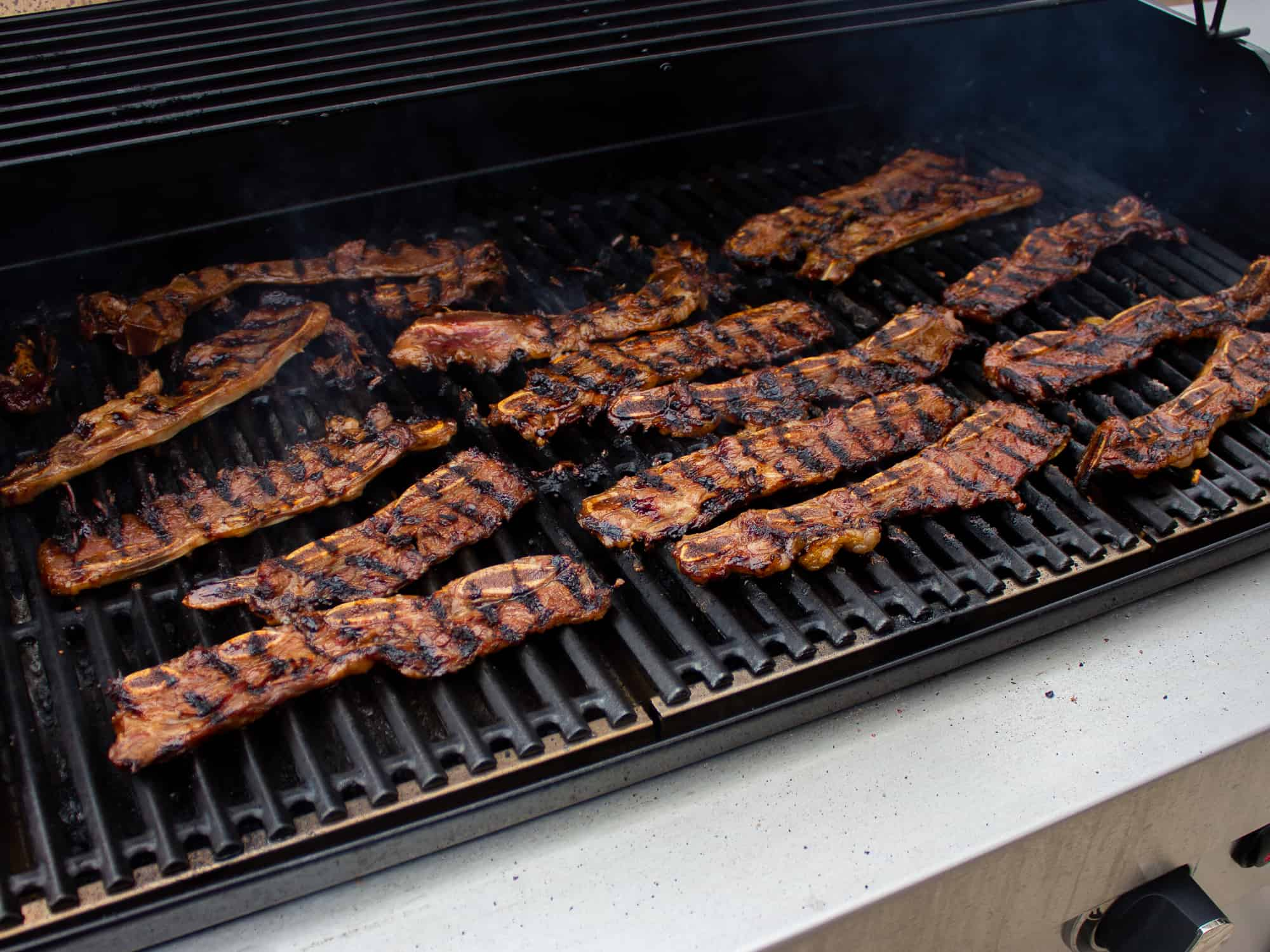 Make sure the kalbi marinates for a few hours before grilling
