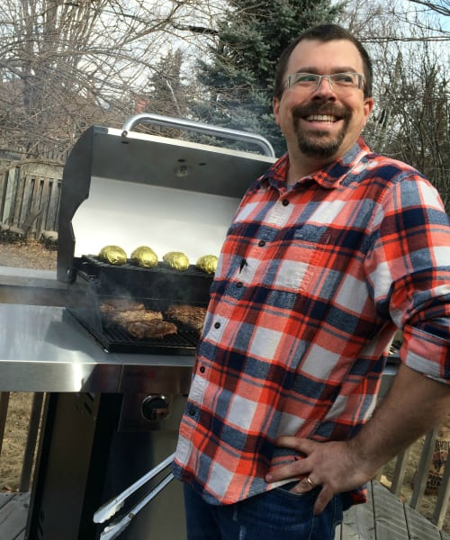 grilling a steak on father day