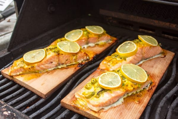 Cedar Plank Salmon with Honey Mustard Sauce