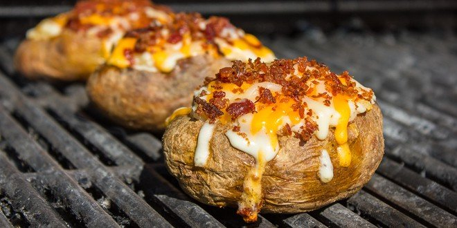Grilled Cheddar Bacon Twice Baked Potatoes Recipes