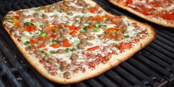 Delissio Pizza Cooked On A Gas Grill