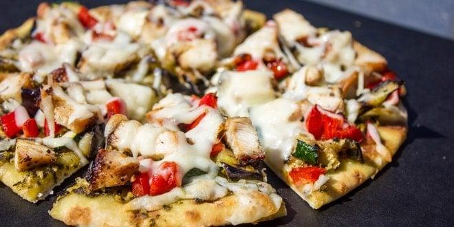 Grilled Chicken Eggplant and Zucchini Pesto Pizza Recipe