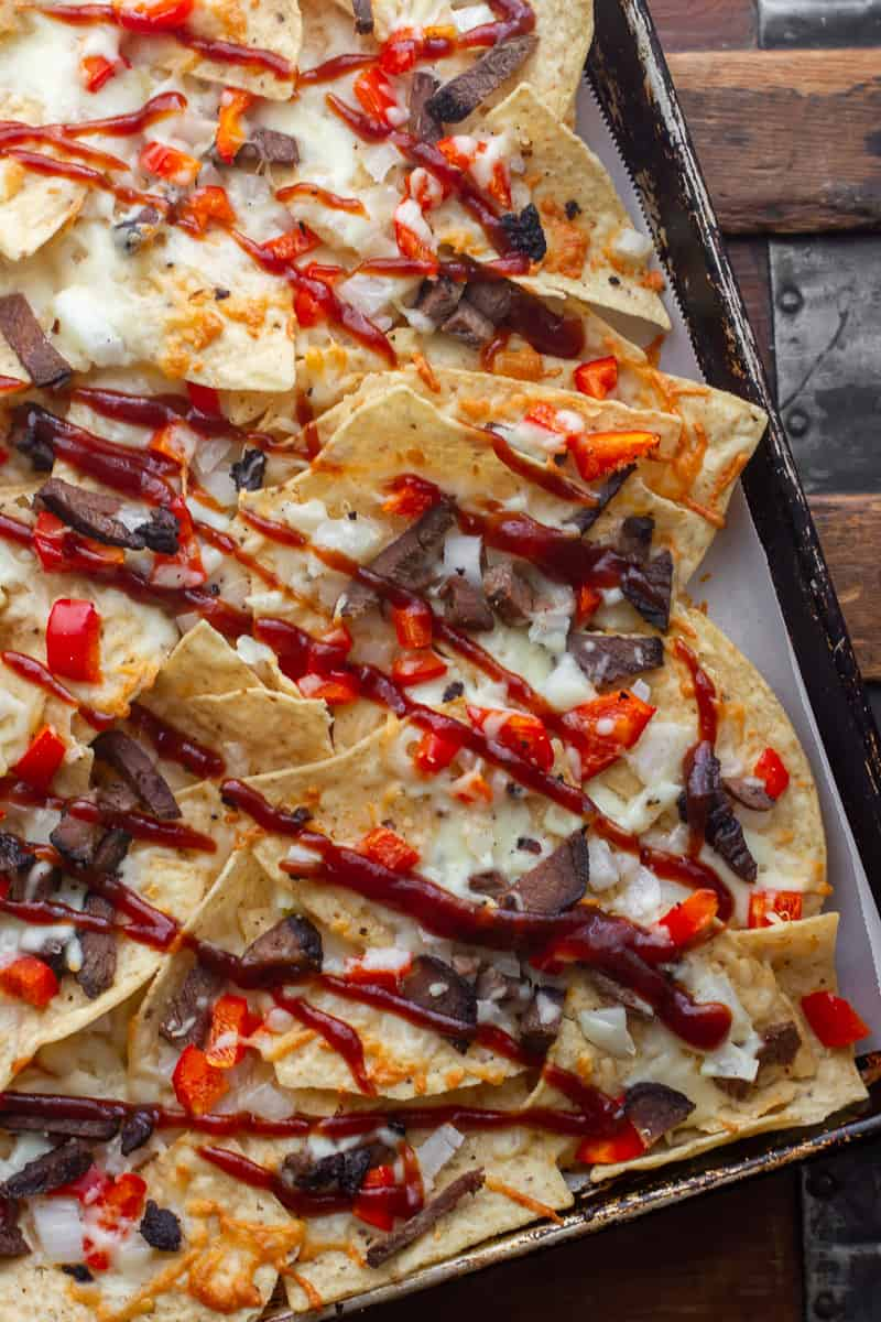 Overhead picture of BBQ nachos.