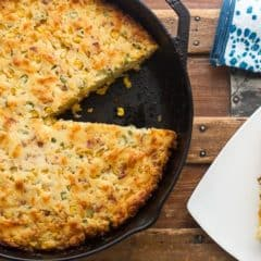 This cornbread recipe is made in a cast iron skillet and perfect comfort food. Crispy on the sides and moist in the middle. Easy how to instructions.