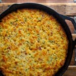 Skillet Cornbread with Bacon Cheddar and Green Onions