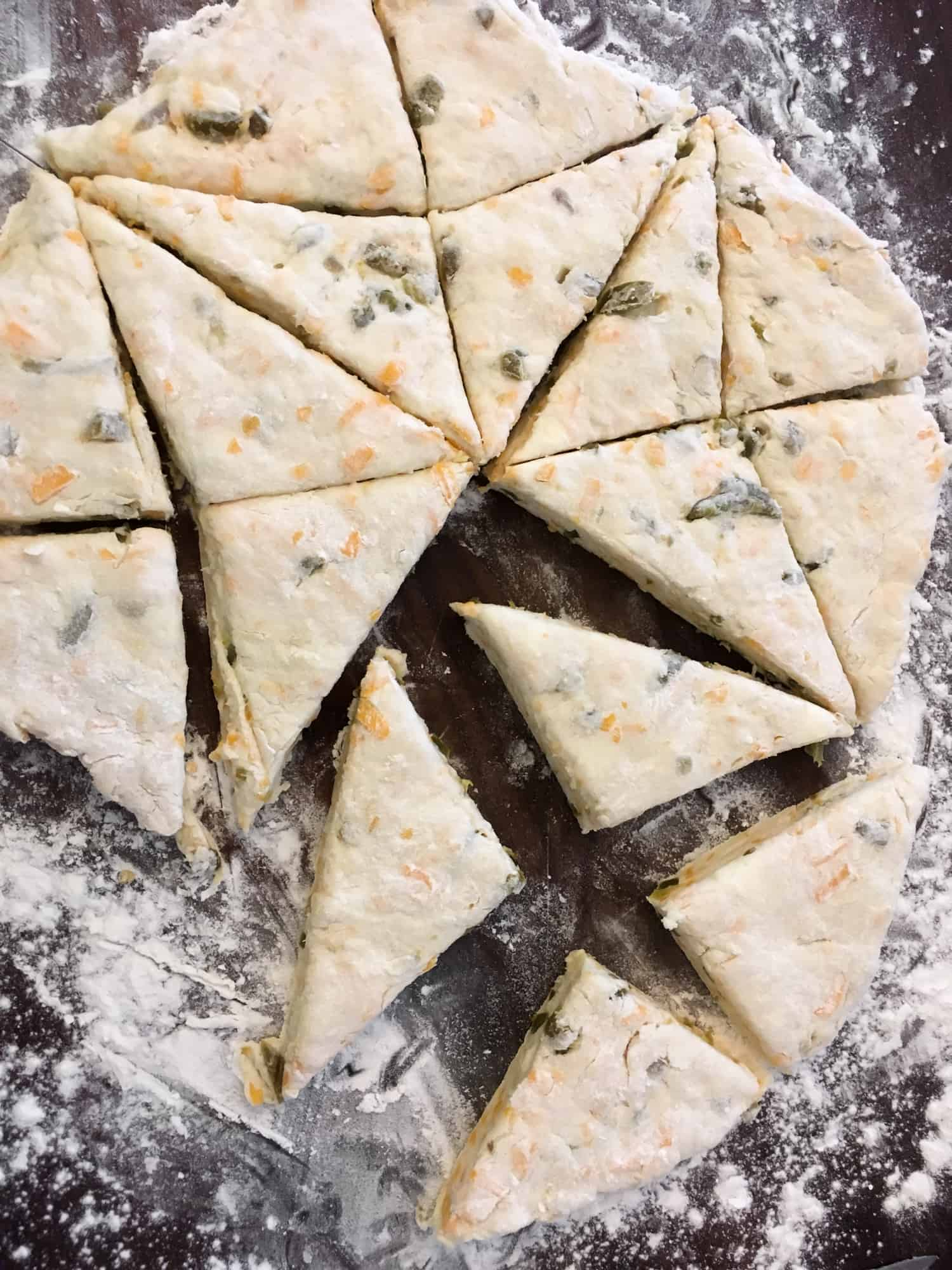Cut these scones into small triangle portions