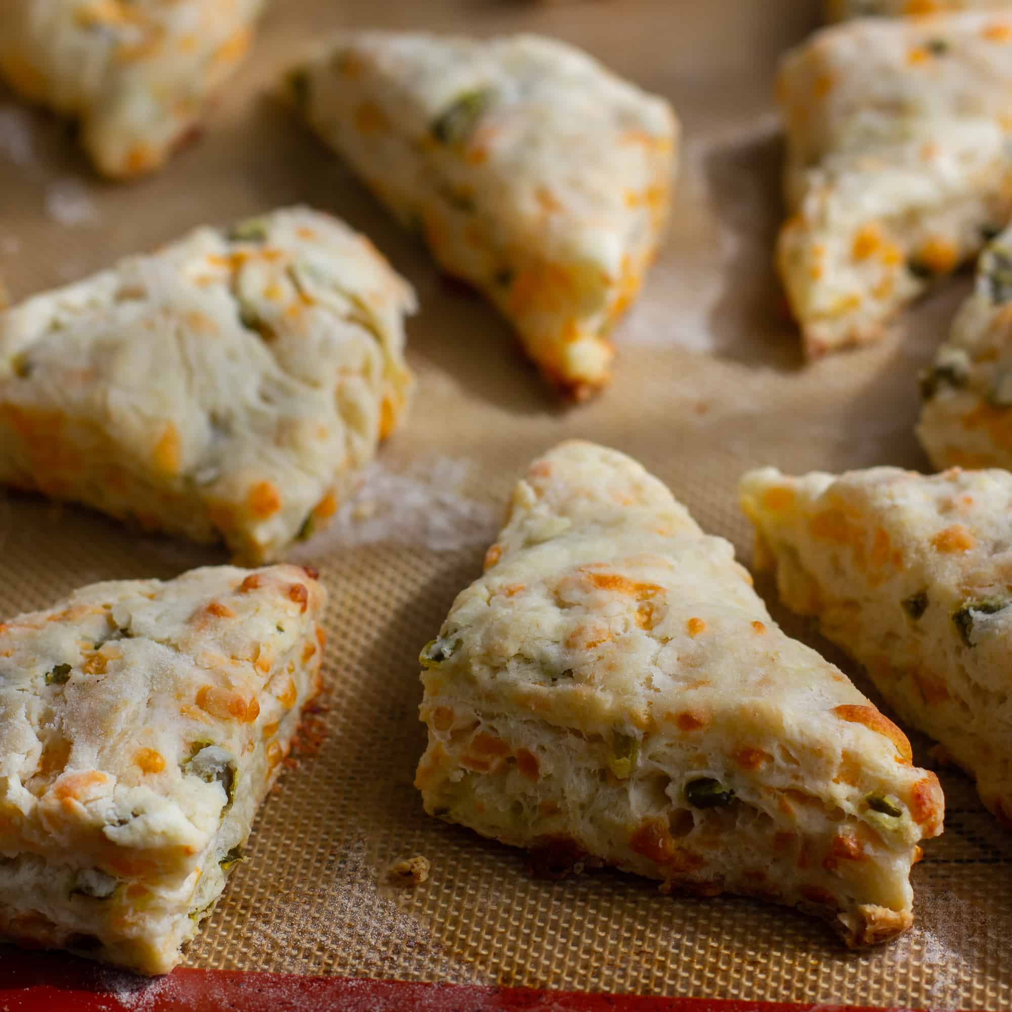 Fresh baked cheddar jalapeno scones are biscuits that have lots of cheddar cheese and minced pickled jalapeño peppers. Best served warm with soup or chili!