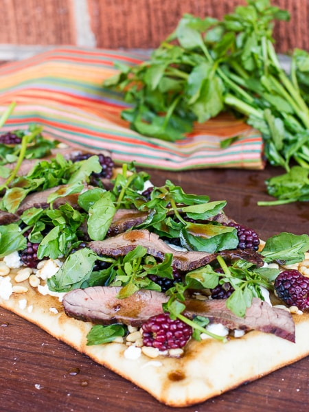 Grilled Flank Steak, Watercress and Blackberry Flatbread pizza