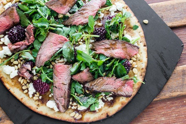 Grilled Flank Steak, Watercress and Blackberry Flatbread