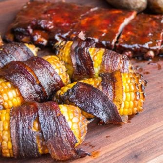 Smoked Corn on the Cob Wrapped in Bacon