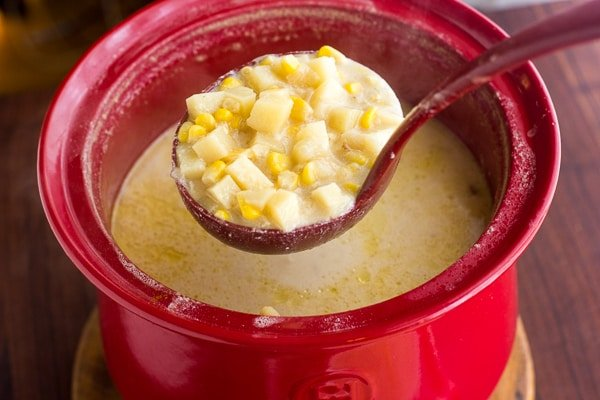 Corn and potato soup. creamy with bacon and cheddar