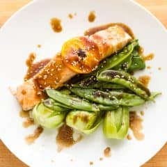 Steamed Salmon with Orange Sesame Glaze
