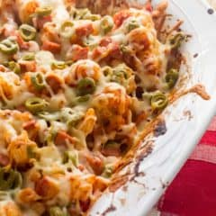 Cauliflower casserole with pepperoni green olives pizza sauce and mozzarella