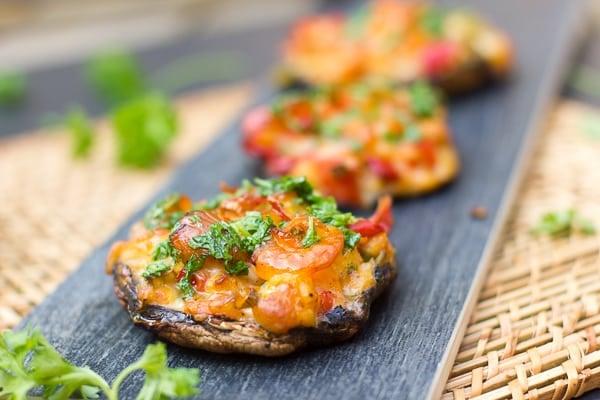 Smoked Seafood Stuffed Portobello Mushrooms crab shrimp scallops