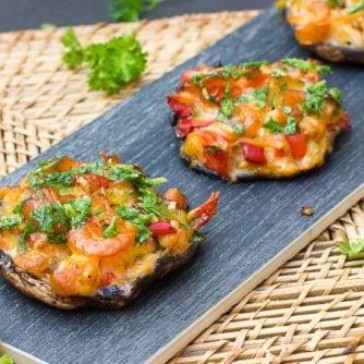 Smoked Seafood Stuffed Portobello Mushrooms scallops shrimp crab