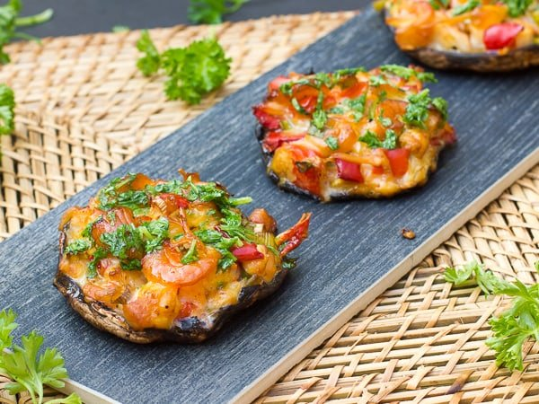 Seafood Stuffed Smoked Portobello Mushrooms Recipe