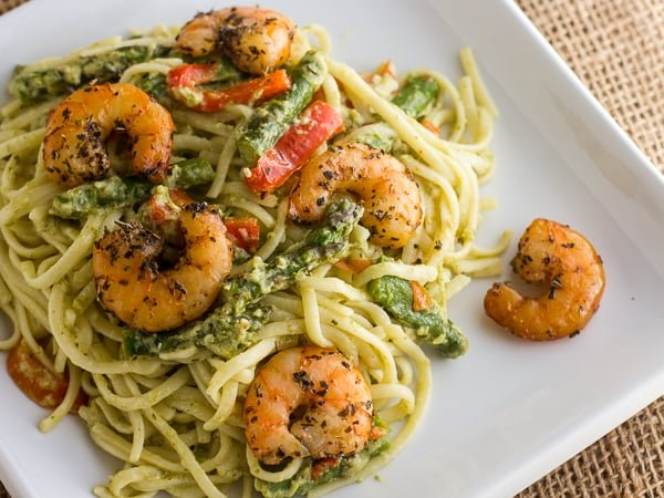 Smoked Shrimp and Pesto Linguine