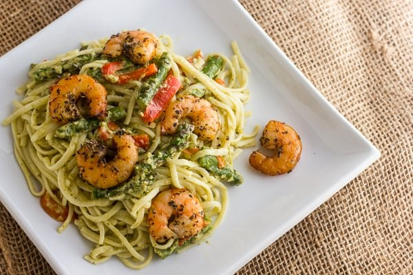 Smoked Shrimp and Pesto Linguine asparagus