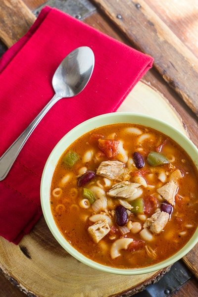 Leftover rotisserie chicken makes a great broth and excellent for this delicious minestrone soup. Kidney beans, noodles and tomatoes with store bought chicken.