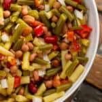 A bowl of bean salad.