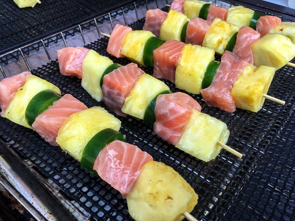 Tequila Honey Lime Smoked Salmon and Pineapple Skewers