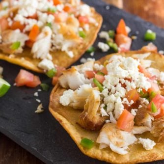 Smoked fish Tostadas pico de gallo