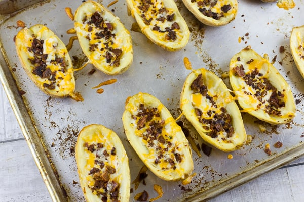 How to make potato skins recipe with bacon and cheddar