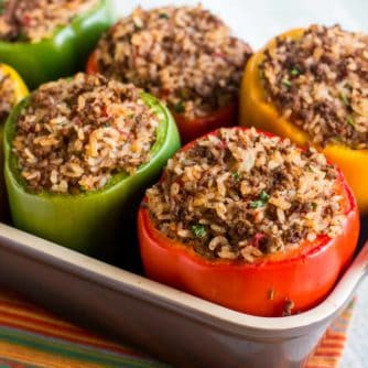 Stuffed Green Bell Pepper Recipe with Ground Beef and rice