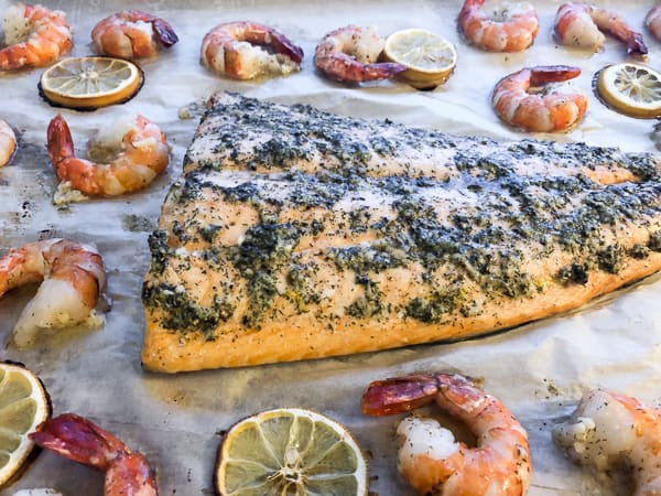 Roast Salmon and Shrimp with Dill Garlic Lemon Rub